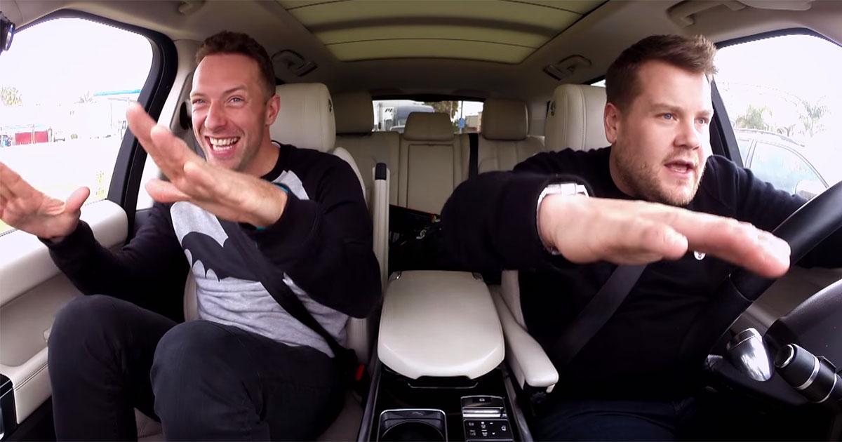 Chris martin carpool karaoke trynding for Car pool karaoke show