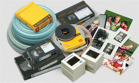 Convert photos, slides, negatives, 8mm film, Super 8, 16mm film, VHS, VHS-C, 8mm/Hi8 tape, MiniDV, and Betamax